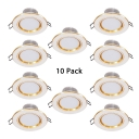 3W Circle Recessed Down Light Pack of 10 Wireless LED Light Fixture in White for Dining Room Foyer