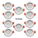 Pack of 10 Wireless Recessed Light 3W Circle Light Fixture Recessed in Warm White for Dining Room