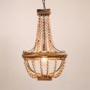 Decorative Chandelier Light Wooden Beads and Metal Single Light Pendant Lighting for Living Room