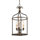 3 Lights Cage Shape Chandelier American Vintage Metal Pendant Lamp in Rust for Dining Room Hallway