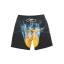 Summer Funny Creative Orange Print Mens Black Drawstring Waist Beach Swim Trunks
