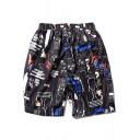 Fashion Comic Cartoon Graffiti Loose Casual Black Swim Shorts with Pocket