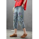 Womens Vintage Destroyed Floral Applique Rolled Cuff Cropped Blue Jeans