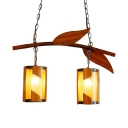 Cylinder Chandelier Light 2 Lights Antique Style Wood Pendant Lamp with Leaf Decoration for Bedroom