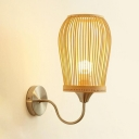 Wood and Metal Wall Sconce Dining Room Bedroom Single Light Antique Style Wall Light in Beige