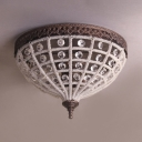 2 Lights Conical Flush Mount Ceiling Light Antique Style Metal and Clear Crystal Ceiling Fixture