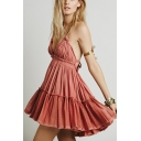 Summer Holiday Beach Simple Plain Halter Neck Ruffled Mini Cotton A-Line Dress