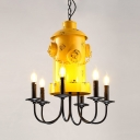 Fire Hydrant Decoration Chandelier Metal 6 Lights Vintage Style Yellow Pendant Lamp for Bar Restaurant