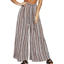 Womens Summer Tribal Striped Printed Tied Front Wide Leg Palazzo Pants