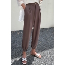 Women's Simple Plain High Rise Gathered Cuff Casual Loose Straight Bloomer Pants