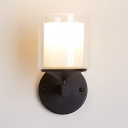 Metal and Glass Wall Light Bedroom Foyer Single Light Modern Black/Silver Sconce for Bathroom Hallway