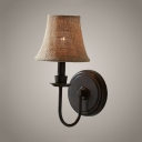 1 Light Tapered Shade Wall Sconce American Rustic Style Metal and Fabric Sconce Light in Black for Restaurant