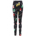 Fashion Christmas Bulb Printed Elastic Waist Black Slim Fit Leggings