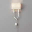 Metal Fabric Wall Lamp Dining Room Hotel 2 Lights Traditional Style Wall Light Fixture in White/Rust