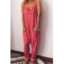 Women's Simple Plain Sleeveless Straps Baggy Jumpsuits with Pocket
