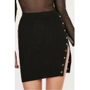 Womens Fashion Solid Color Button Split Side Mini Bodycon Knit Skirt