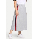 Womens Plus Size Stripe Side Elastic Waist Cotton Gray Maxi Sport Skirt