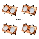 (4 Pack)2 Head Crystal Recessed Light Wireless Rectangle LED Ceiling Light Recessed in White/Warm for Kitchen Bedroom