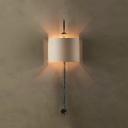 Metal Fabric White Drum Wall Light 1 Light Antique Rust/Black Lamp Body Sconce Light for Cafe Restaurant