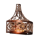 Living Room Restaurant Wall Light Metal 2 Lights Antique Style Wall Lamp with Clear Crystal Decoration in Rust