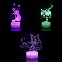 Decorative Cute Cat 3D Optical Night Light Bedroom Kitchen Battery and USB LED Illusion Light with Touch Sensor