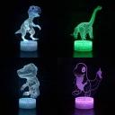 Touch Sensor 3D Night Light 7 Color Changing Dinosaur Pattern Bedside Light with USB Port for Bedroom Bathroom