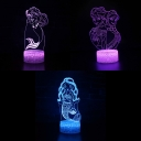 3 Mermaid Pattern 3D Night Light Touch Sensor 7 Color Changing LED Illusion Light for Girl Gift Bedroom