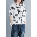 Unique Printed Batwing Sleeve Womens Casual Relaxed Linen T-Shirt