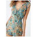 Summer Chic Blue Floral Printed Ruffled V-Neck Tied Waist Playsuits Rompers
