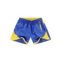 Summer Fashion Colorblock Elastic Waist Zip Pocket Side Sport Casual Running Board Shorts for Men