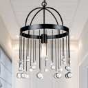 Traditional Black Ceiling Light with Round Shade and Clear Crystal 1 Light Metal Pendant Light for Bedroom