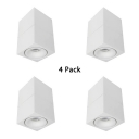 (4 Pack)White/Black Foldable LED Spot Light Dining Room Foyer Angle Adjustable Square Shape Ceiling Fixture in White/Warm White