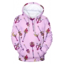 Comic Pink Magic Wand Pattern Long Sleeve Pullover Casual Hoodie