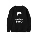 Popular Letter I Love You 3000 Round Neck Long Sleeve Pullover Sweatshirt