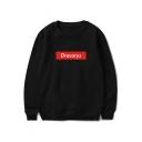 Popular Letter DRACARYS Print Basic Long Sleeve Round Neck Pullover Sweatshirt