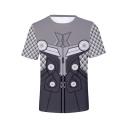 Popular Quantum Battle Suit 3D Printed Grey Short Sleeve Summer Tee