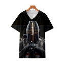 Knights Templar Cool Figure Printed Short Sleeve V-Neck Button Front Black Baseball Shirt