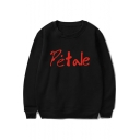 Simple Funny Letter PETALE Printed Round Neck Long Sleeve Pullover Unisex Sweatshirt
