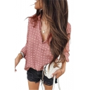 New Fancy Chic Polka Dot Printed Long Sleeve V-Neck Womens Casual Blouse Shirt