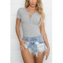 Womens V-Neck Short Sleeve Solid Color Slim Fit Bodysuit