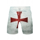Popular Knights Templar Red Cross Print Loose Casual Sport Shorts