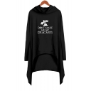 New Popular Dragon Letter DONT MAKE ME SAY DRACARYS Long Sleeve Hooded Shift Asymmetrical Dress