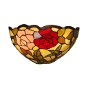 Living Room Battery Powered Wall Light Rose Bird Pattern Glass Tiffany Style Colorful Sconce Light