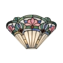Foil Glass Lotus Pattern Sconce Light Up Lighting Tiffany Style Wall Lamp with Multi Color for Restaurant