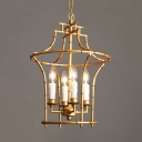 Metal Candle Chandelier with Wire Cage 4 Lights Rustic Style Ceiling Light in Gold for Balcony Hallway
