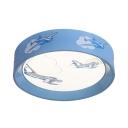 Blue Round Shape Overhead Light Plane Pattern Slim Panel Acrylic LED Ceiling Mount Light for Boy Girl Room