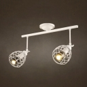 2/3 Heads Caged Spot Light Industrial Wireless Long Life LED Ceiling Fixture in White/Black for Bar