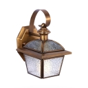 Vintage Style Down Lighting Wall Light Metal and Cracked Glass 1 Light Sconce Light for Indoor Outdoor