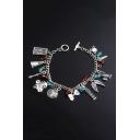 New Popular Silver Combination Womens Charm Bracelet