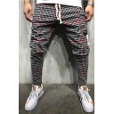 New Men's Leisure Striped Plaid Printed Slim Fit Trousers with Drawstring
